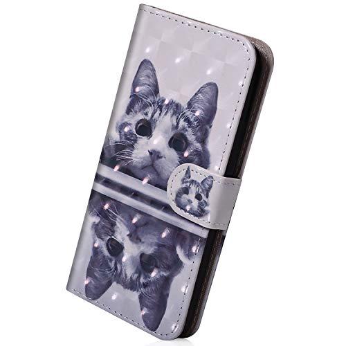 Hülle Kompatibel mit Huawei P20 Flip Case Hülle Leder Tasche Glitzer Elegante Lederhülle Schutzhülle Klapphülle Dünn Handy Schutzhülle Wallet Cover Geldbörse,Niedlich Katze