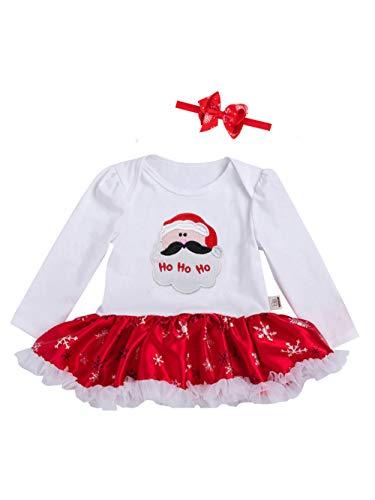 URBEAR Bambine e ragazze mio primo Natale costume del partito del vestito 2 pz Bianco/Babbo Natale 18-36 Mese