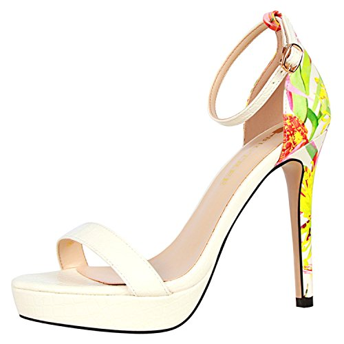 Oasap Women's Open Toe Ankle Buckle Floral Stiletto Heels Sandals White