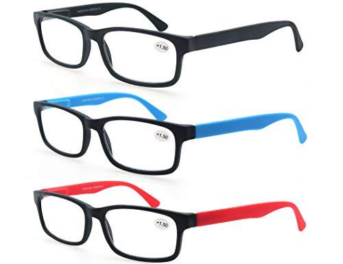 MODFANS (3 Pack) Lesebrille 1.25 Herren/Damen,Gute Brillen,Hochwertig,Rechteckige,Komfortabel,Super Lesehilfe,fur Manner und Frauen,Schwarz-Blau-Rot -