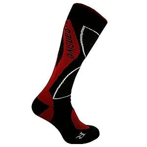 Expansive geformte Merino Wolle Snowboard Socken Rot [363–01] UK 2,5–5(EUR 35–38)