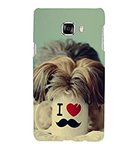 PrintVisa Naughty Puppy 3D Hard Polycarbonate Designer Back Case Cover for Samsung Galaxy C7