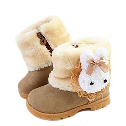 Eagsouni Filles Lapin Bottes de Neige pour Enfant Chaud Hiver Chaussures Fille B颩 Fourrure Doubl頁ntid鲡pant Bottes d'hiver Martin bottes - Kaki - 28