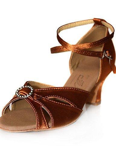 ShangYi Chaussures de danse (Noir/Marron/Rouge) - Non personnalisable - Talon bas - Satin - Danse latine/Salle de bal Brown