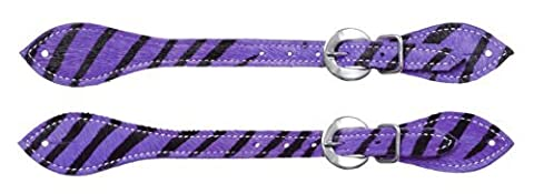 Tough 1 Hair-On Spur Straps, Purple Zebra by Tough 1