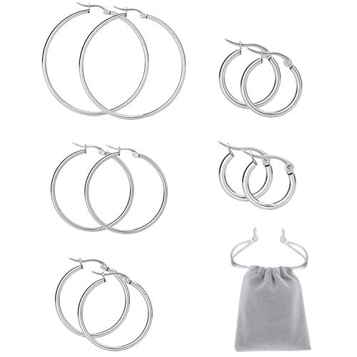 Mannli Stainless Steel Hypoallergenic Large Hoop Earring Sets for Women Girl,Silver,Gold,Rose Gold