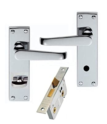 Victorian Polished Chrome Bathroom Door Handles + 64mm Lock Set produced by Dale Hardware - quick delivery from UK.