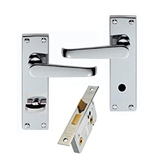 Victorian Straight Polished Chrome Bathroom Door Handles + 64mm Bathroom Lock Set - Golden Grace
