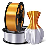 SUNLU 3D Filament 1.75, Shiny Silk PLA Filament 1.75mm, 2KG PLA Filament 0.02mm for 3D Printer 3D Pens, Brass + Silver