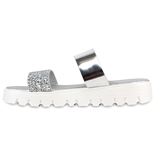 Damen Komfort-Sandalen Glitzer Sommer Schuhe Lack Profil Sohle Silber