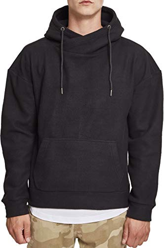 Urban Classics Herren Polar Fleece High Neck Hoodie Kapuzenpullover, Schwarz (Black 00007), S - Black Classic Fleece Hose