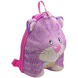 okiedog wildpack Niños Mochila en efecto 3d con orejas de peluche, KATZE rosa (Rosa) - 80043