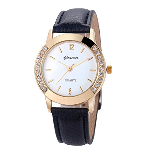 vovotrade GINEBRA Moda mujer analogico cuero reloj de pulsera de cuarzo relojes de diamantes Negro