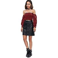 PASSOSIE Falda Corta para Mujer Básica Falda de Cuero PU Falda de Trapecio con Cremallera Mini Vestido Liso, XS - L