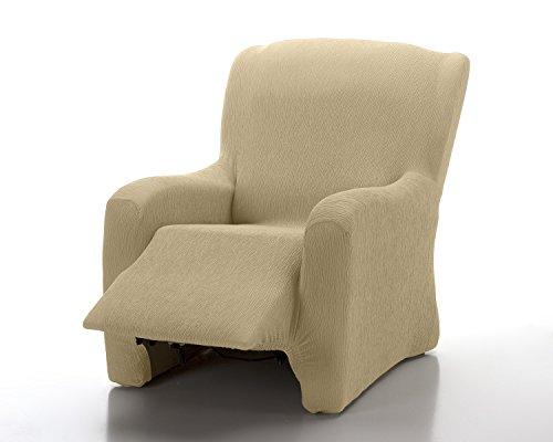 Textilhome - copripoltrona relax completo marian elasticizzato, taglia 1 posti - 70 a 100cm. colour avorio