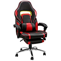 LANGRIA New Gaming Chair Racing Style Faux Leather High Back Chair with Footrest Headrest and Lumbar Cushion Ergonomic Adaptive Design
