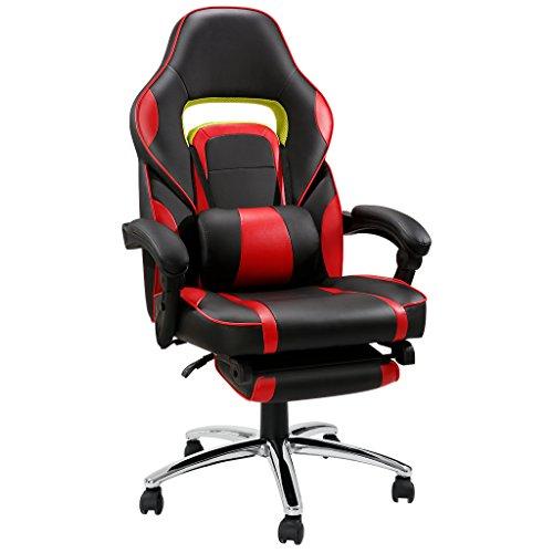 LANGRIA Racer Gaming Stuhl Computerstuhl Schreibtischstuhl mit Fußstütze und Lendenkissen, Wippkunktion, Höhenverstellbar, Schwarz und Rot