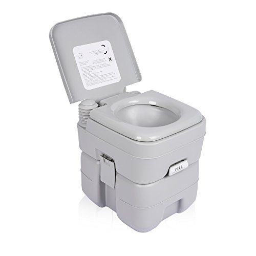 Excelvan 20L WC Portable Toilettes Portables Chimiques pour Camping, Caravanes, hôpital, etc - Gris