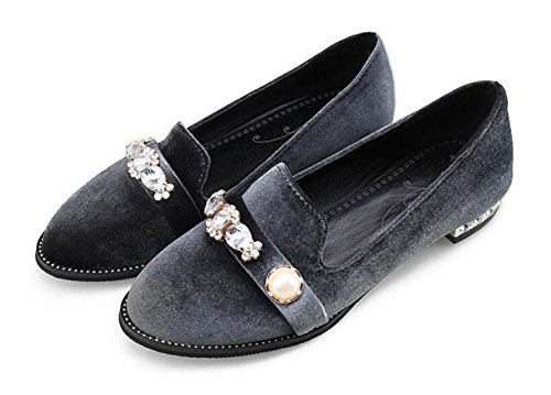 SHINIK Chaussures Femmes Cour Diamond Velvet Retro Chaussures Closed-Toe Pompes Sandales Chaussures plates Green