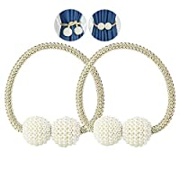 Sycle circle 2 Pack Magnetic Curtain Tie Backs, Decorative Pearls Curtain Holdbacks for Bedroom, Living Room (Beige)