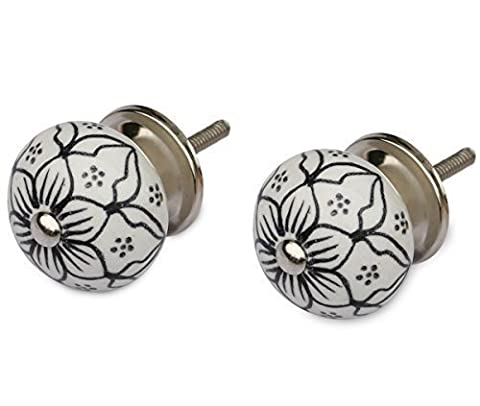 SouvNear Set of 2 Handmade Ceramic Knobs - Drawer Pulls / Handles - Hardware Included- Decorative Doors / Dresser / Cabinets / Cupboards / Vanity Accessories - 4mm Rod Dia by SouvNear