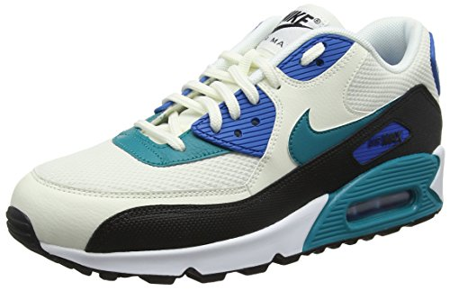 Nike Air Max 90, Scarpe da Ginnastica Donna, Bianco (Sail/Radiant Emerald/Nero/Blu 134), 38.5 EU