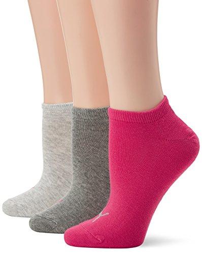 Puma Quarter Lot De 3, Calze Sportive Unisex-Adulto Middle Grey Mélange/Pink