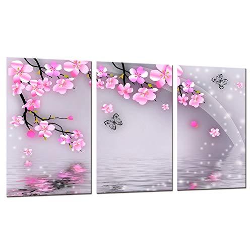HOMEDCR Modulare Bilder Wandkunst Malerei 3 Panel Pfirsich Blumen Schmetterling Hd Print Leinwand Decor Poster -