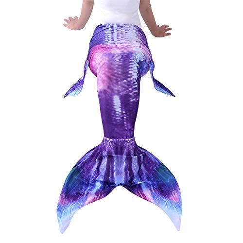 YiZYiF Erwachsene Frauen Meerjungfrau Schwanz Flossen Badeanzug Schwimmen Kostüme für Strandurlaub Performance Cosplay Lila & Rot X-Large