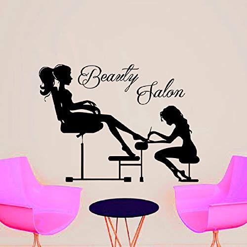 Hfwyf adesivi murali salone di bellezza manicure estetista nail art unghia della ragazza rimovibile fai da te decorazione della casa applique da parete moda vinile 59 cm x 65 cm