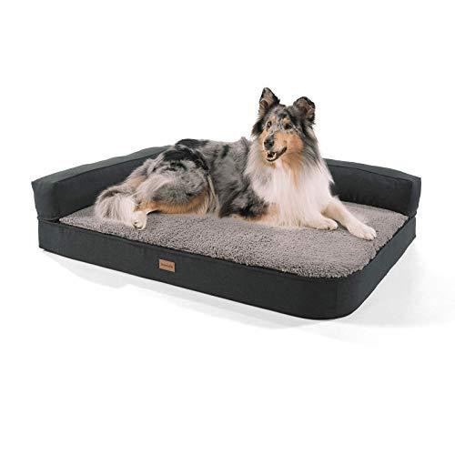 brunolie Odin großes Hundesofa in Grau, waschbar, orthopädisch und rutschfest, Hundekissen mit Abnehmbarer Lehne, Größe L (120 x 80 x 12 cm) -