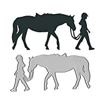 Cutting Dies for Card Making, Gemini_mall® Cowboy Girl Horse Metal Cutting Dies DIY Scrapbooking Paper Cards Photo Album Craft Decor Craft for Greeting Cards/Invitation Cards Decoration