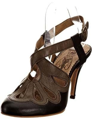 Fly London Women's Blythe Black/Khaki Ankle Strap Heels P142156005 5 UK