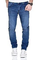 MERISH Jeans Herren Destroyed Hose Used-Look Jeanshose Männer Denim 2081-1001 (31-32, 1001 Blau)