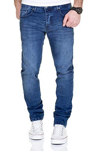 Slim Fit Straight Leg Jean (MERISH Jeans Herren Destroyed Hose Used-Look Jeanshose Männer Denim 2081-1001 (30-32, 1001 Blau))