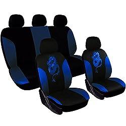 WOLTU AS7212 Universal Sitzbezüge für Auto Sitzbezug Schonbezüge Autoauflage Schoner, Drache Stickerei, schwarz-blau