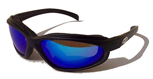 CURV Z weiche, luftige, mit Schaumstoff gepolsterte Motorrad-/Biker-Brille, Jet blau blaue verspiegelte Gläser, inklusive Hülle