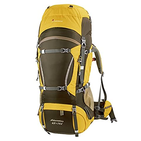Mountaintop 65L+10L Internal Frame Hiking Backpack, 36 x 23 x 78 cm