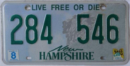 US Nummernschild NEW HAMPSHIRE Kennzeichen # USA License Plate # Auto - Schild