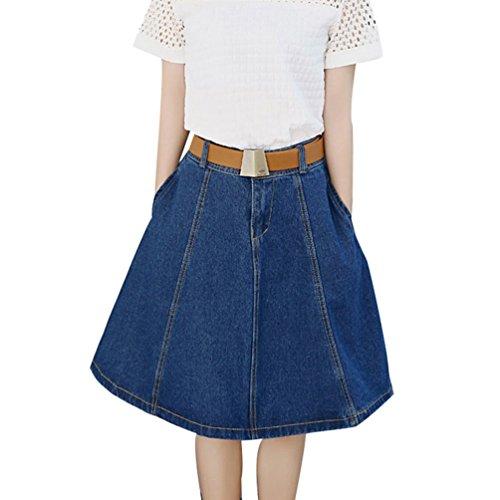 NiSeng Donna Cucitura Jeans Gonna Slim A-Line Jeans Gonna Mode Vita Alta Jeans Gonna Denim Skirts Blu Scuro+Cintura