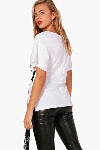 chameau Femmes lydia t-shirt en dentelle noué à la taille à slogan chameau