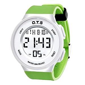 Digitale Sportuhr für Jungen, wasserdicht, elektronisch, analog, LED-Alarm, Stoppuhr, Hintergrundbeleuchtung, Timer für Jugendliche und Kinder