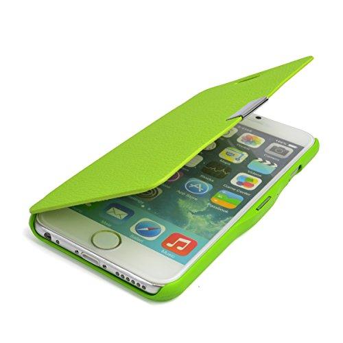gada - Handyhülle für Apple iPhone 6 - Sehr schönes Leder-Imitat Flipcase Cover mit Magnetverschluss - Pink Grün