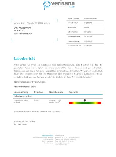 Verisana Helicobacter pylori Test – Helicobacter Selbsttest – Helicobacter Stuhltest identifiziert Helicobacter-pylori Bakterien im Darm – Helicobacter Behandlung von zu Hause aus