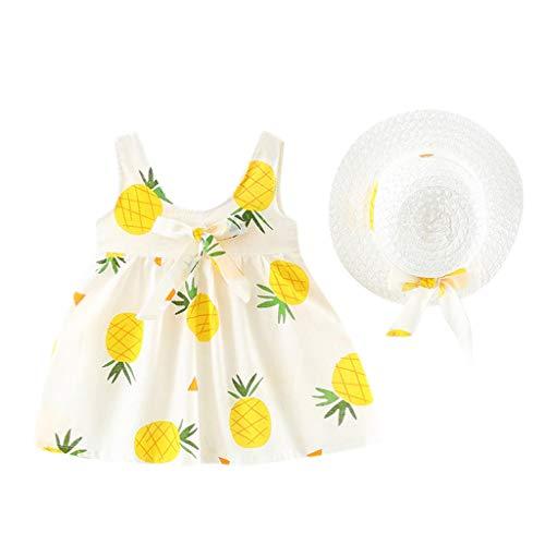 MISSWongg 2 stück Baby Mädchen Kleid Ärmellos Ananas Prinzessin Kleider Bow Hat Outfits Sommer Baby ()
