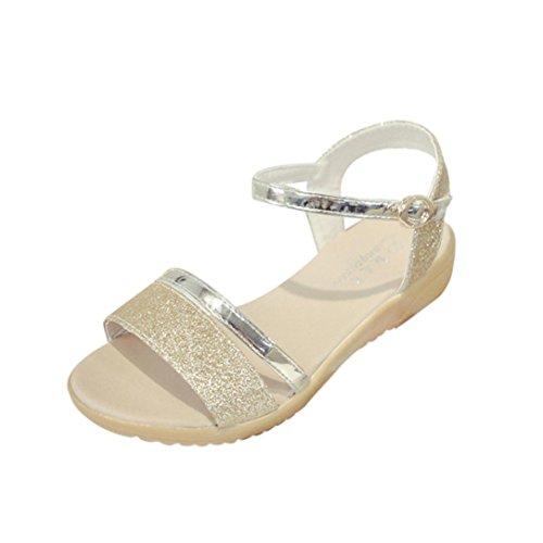 Abend Sandaletten Damen, Manadlian Frauen Sommerschuhe Knöchelriemen Strand Schuhe Fischmaul Schuhe Sandalen Flache Ferse Solide Knöchel Riemen Pantoffel-Sandalen (35, Gold)