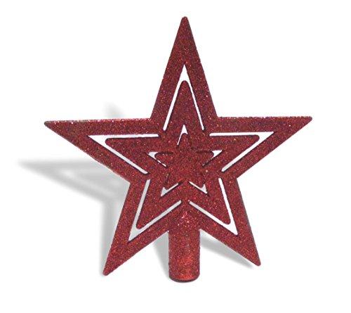 UrbanDesign Weihnachtsbaumspitze Baumspitze Baumstern Spitze Stern Baumschmuck Weihnachtsbaum-Stern Weihnachtsstern Glitzer Frost (Rot Glitzer) -