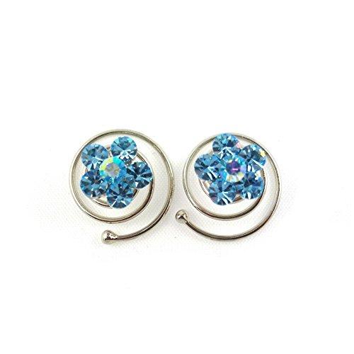 rougecaramel - Accessoires cheveux - Spirale à cheveux en cristal pour mariage 2pcs - bleu