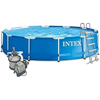 Intex 457x122 Komplettset mit Intex Sandfilteranlage 4m³, Intex Sicherheitsleiter, Intex Anschlusset, Solarfolie Swimming Pool Schwimmbad Frame Metal Stahlwand