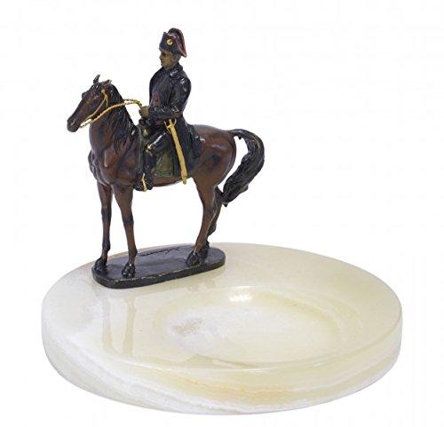 Casa Padrino Luxus Jugendstil Onyx Aschenbecher mit Bronzefigur Napoleon auf Pferd Mod-X3